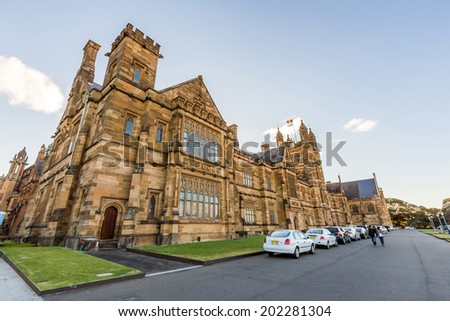 SYDNEY, NSW, AUSTRALIA - May 30, 2014: Quadrant Building at University of Sydney, Australia. Five Nobel or Crafoord laureates have been affiliated with the university as graduates and faculty.  - stock photo