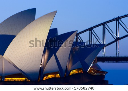 Sydney, NSW - October 21: Sydney Opera House at dusk on a spring evening in Sydney, Australia on 21st October 2007. - stock photo