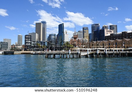 SYDNEY - OCT 21 2016:Sydney Central Business District skyline.It is the capital of Australia's ICT industry, with 76 per cent of Australia's ICT regional headquarters and operating centers.