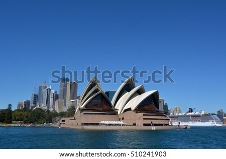 SYDNEY - OCT 23 2016:Sydney Opera House from a ferry in Sydney, Australia.  It is one of the 20th century's most famous and distinctive buildings in the world.