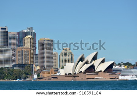 SYDNEY - OCT 23 2016:Sydney Opera House in Sydney New South Wales, Australia.It's tone of the 20th century's most famous and distinctive building in the world