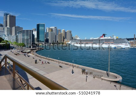 SYDNEY - OCT 19 2016:Visitors at Sydney Cove a major tourist attraction in Sydney Business District New South Wales, Australia