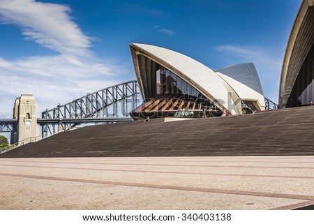 SYDNEY - OCTOBER 27 : Opera House on October 27 2015 in Sydney. It is Identified as one of the 20th century's most distinctive buildings and one of the most famous performing arts centres in the world - stock photo
