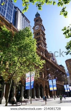 SYDNEY - OCTOBER 2014 : Sydney GPO building is located in Martin Place. This place is national Australian icon in popular culture for attracting high-end film and television productions.  - stock photo