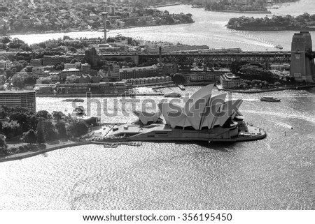SYDNEY - OCTOBER 15: The Iconic Sydney Opera House is a multi-venue performing arts centre also containing bars and outdoor restaurants. October 15, 2015 in Sydney, Australia - stock photo