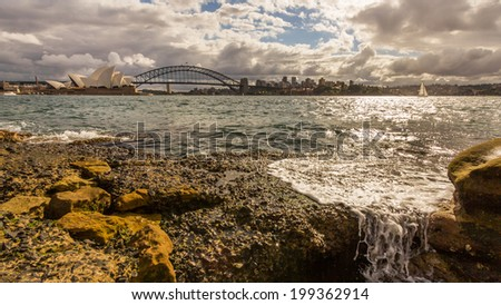Sydney opera house and harbor bridge at sunset - stock photo