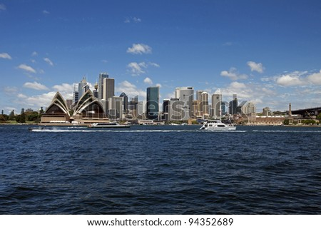 Sydney Opera House, harbour and downtown, Sydney, NSW, Australia