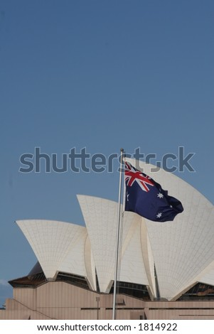 Sydney Opera House with Australian Flag - stock photo