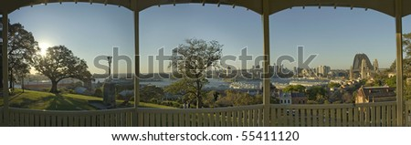 Sydney park panorama, photo taken from under a wooden park shelter - stock photo