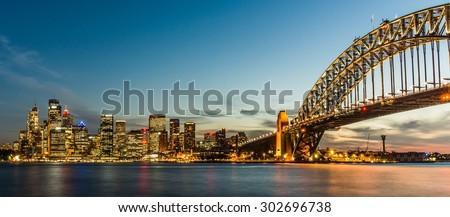 Sydney's skyline after sunset - stock photo
