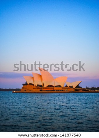 SYDNEY-SEPTEMBER 5:Sydney opera house  view in late afternoon in Sydney,Australia on 5 September 2012 .It was designed by Danish architect Jorn Utzon. - stock photo