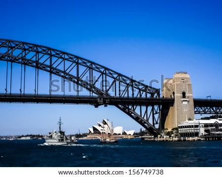 SYDNEY-SEPTEMBER 22 : Sydney opera house with Sydney harbour bridge foreground in  Sydney,Australia on 22 September 2012 .It was designed by Danish architect Jorn Utzon. - stock photo