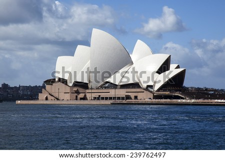SYDNEY - SEPTEMBER 3: Sydney's famous Opera House as seen on September 3, 2014. Opera House is one of the most iconic tourist location in Australia.