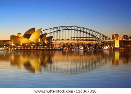 SYDNEY - SEPTEMBER 7: The Sydney Opera House, viewed from Circular Quay in Sydney, Australia on September 7, 2008. It was designed by Danish architect Jorn Utzon. - stock photo