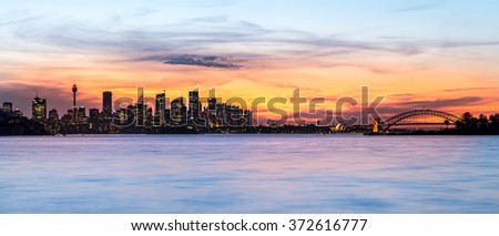 Sydney Skyline at dawn, taken from Vauclause, Sydney.