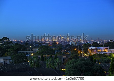 sydney skyline at night from the south side - stock photo