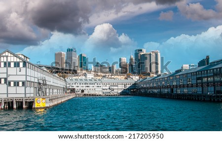 Sydney skyline at Walsh Bay on a beautiful sunny day. - stock photo