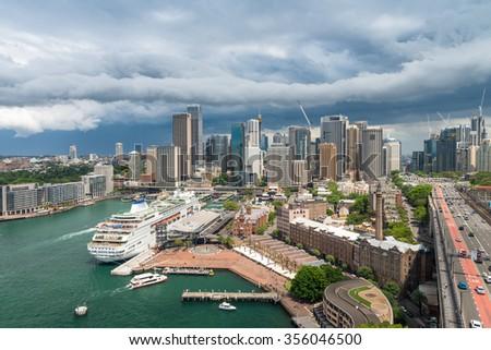 Sydney skyline from Harbour Bridge, Australia. - stock photo
