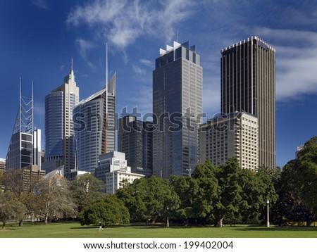 Sydney Skyline from the Royal Botanic Gardens - stock photo