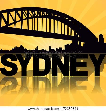 Sydney skyline reflected with sunburst illustration - stock photo