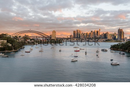 Sydney skyline sunset from Waverton Point