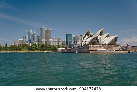Sydney skyline viewed from the harbor