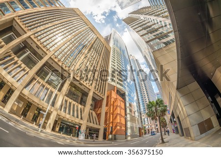 Sydney skyscrapers, view from street level. - stock photo