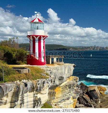 Sydney South Head lighthouse. Beautiful seascape. Collection of the best lighthouses - stock photo