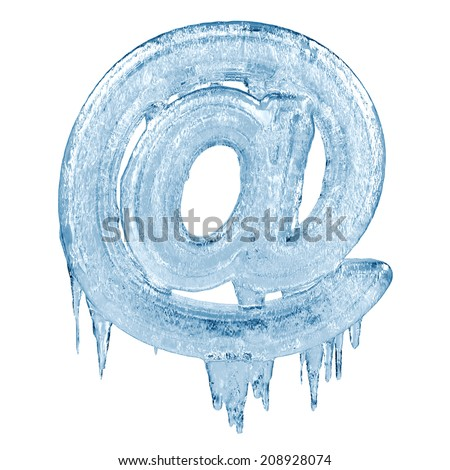 Symbol at. Ice font isolated on white background. Alphabet. - stock photo