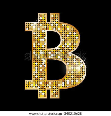 Symbol bitcoin - virtual money. Raster version  - stock photo