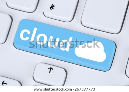 Symbol cloud computing online on internet cyberspace computer keyboard