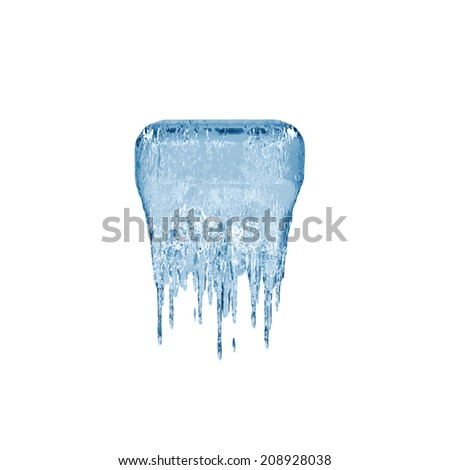 Symbol dash. Ice font isolated on white background. Alphabet. - stock photo