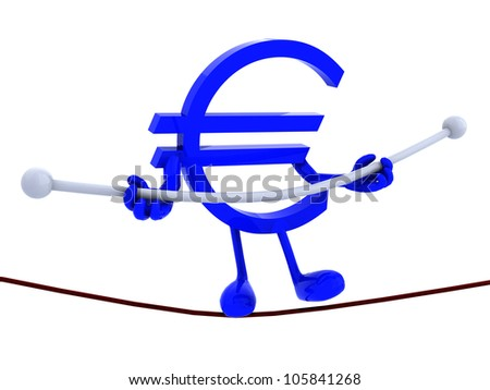 symbol euro acrobat who walks on a wire, concept of a dangerous finance, europe crisis - stock photo