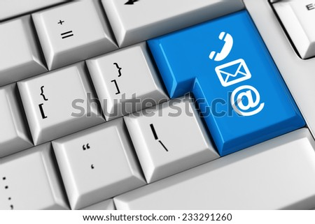 Symbol for communication and customer support on a keyboard (3D Rendering) - stock photo
