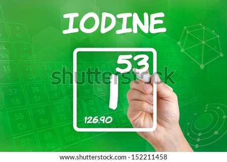 Symbol for the chemical element iodine - stock photo