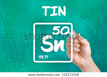 Symbol for the chemical element tin - stock photo