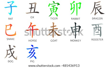 Symbol from chinese hieroglyphs. Translation of 12 zodiac animals branch, feng shui signs hieroglyph: rat, ox, tiger, rabbit, dragon, snake, horse, goat, monkey, rooster, dog, pig