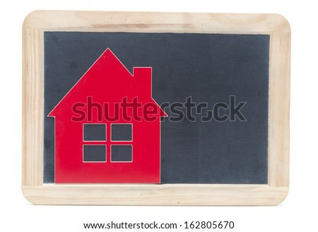 symbol house on blackboard - stock photo
