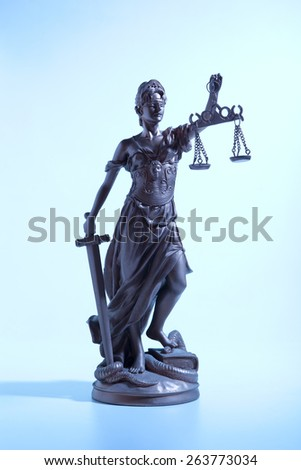 Symbol Justice.  Lady of Justice. Blue Light - stock photo