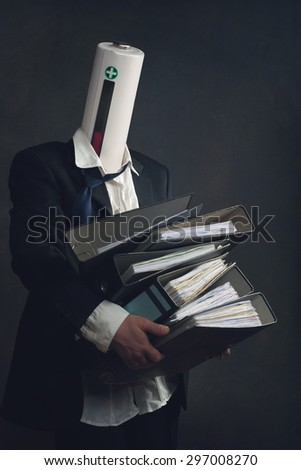 Symbol of a businessman with File Folders and burn out syndrome - stock photo