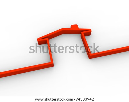 Symbol of a house made of red 3D line on white background