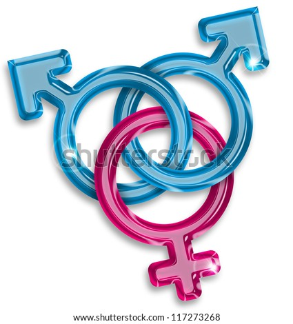 symbol of a love triangle between two men and a woman - stock photo