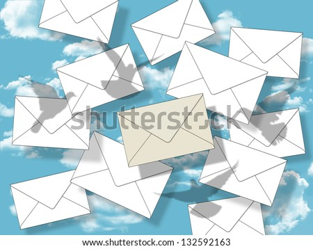 symbol of a very welcome letter: lots of white envelopes falling from the sky and the pigeons try to catch the most wanted different one