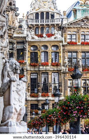 Symbol of Belgium -- Guardian lion holding the Coat of Arms at the Grand Place (Grote Markt ) in Brussels, Belgium - stock photo