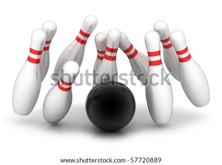 symbol of bowling on a white background - stock photo
