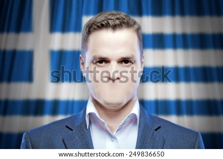 Symbol of censorship and freedom of speech: a young man without a mouth on a background of the national flag of Greece - stock photo