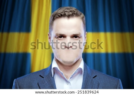 Symbol of censorship and freedom of speech: a young man without a mouth on a background of the national flag of Sweden