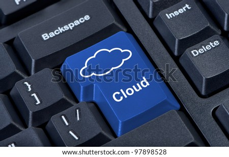 Symbol of cloud on computer button keypad. - stock photo