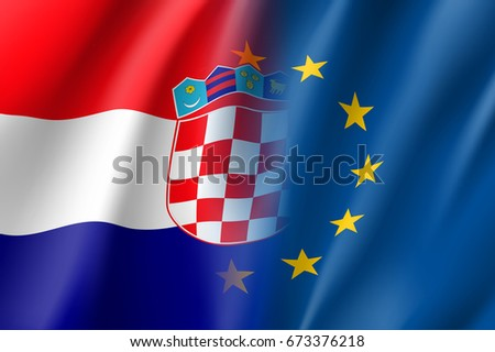 Symbol of Croatia is EU member. European Union sign with twelve gold stars on blue and Croatia national flag.