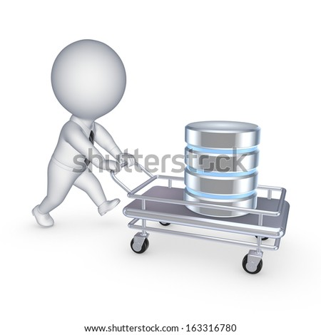 Symbol of database on a pushcart.Isolated on white.3d rendered. - stock photo